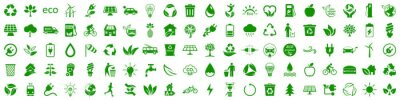 Plakat Set of 100 ecology icons. Eco green signs. Nature symbol – stock vector