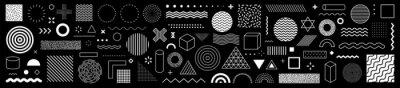 Plakat Set of 100 geometric shapes. Memphis design, retro elements for web, vintage, advertisement, commercial banner, poster, leaflet, billboard, sale. Collection trendy halftone vector geometric shapes.