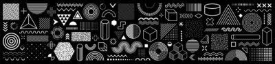 Plakat Set of 100 geometric shapes. Memphis design, retro elements for web, vintage, advertisement, commercial banner, poster, leaflet, billboard, sale. Collection trendy halftone vector geometric shapes