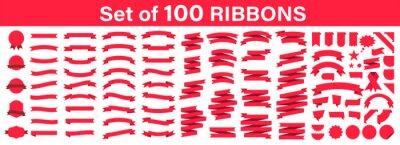 Plakat Set of 100 Ribbons. Ribbon elements. Starburst label. Vintage. Modern simple ribbons collection. Vector illustration.