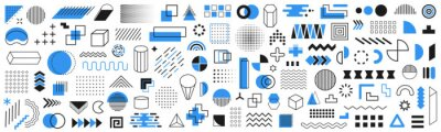 Plakat Set of 120 geometric shapes icons. Memphis design retro elements. Collection trendy halftone geometric shapes. Retro funky graphic, 90s trends designs and vintage print element collection