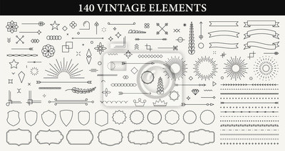 Plakat Set of 140 Vintage line elements. Retro design elements. Ornaments and Frames. Drawing geometrics line. Decoration, banners, posters, emblems, labels. Vector illustration.