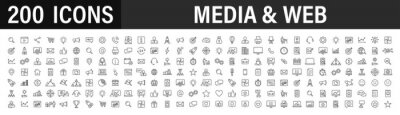 Plakat Set of 200 Media and Web icons in line style. Data analytics, Digital marketing, Management, Message, Phone. Vector illustration.