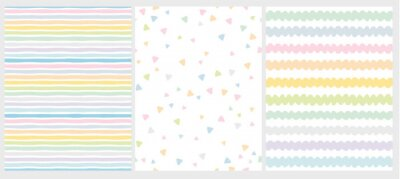 Plakat Set of 3 Cute Abstract Geometric Vector Patterns. Light Multicolor Design. Stripes, Triangles and Waves. White Background. Irregular Infantile Style Waves. Blue, Pink, Yellow, Green and White Design.