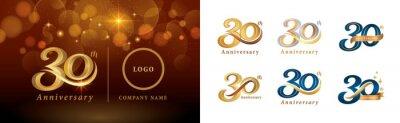 Plakat Set of 30th Anniversary logotype design, Thirty years Celebrating Anniversary Logo