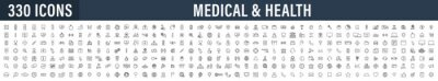 Plakat Set of 330 Medical and Health web icons in line style. Medicine and Health Care, RX, infographic. Vector illustration.