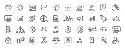 Plakat Set of 40 Data Proceassing web icons in line style. Graphic, analytics, statistic, network, diagrams, digital. Vector illustration.