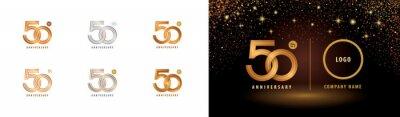 Plakat Set of 50th Anniversary logotype design, Fifty years anniversary celebration