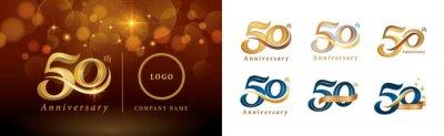 Plakat Set of 50th Anniversary logotype design, Fifty years Celebrating Anniversary Logo