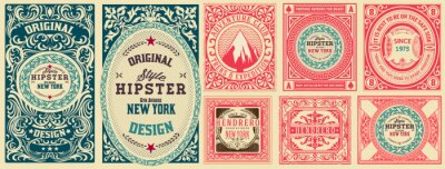 Plakat Set of 8 vintage labels. Vector layered