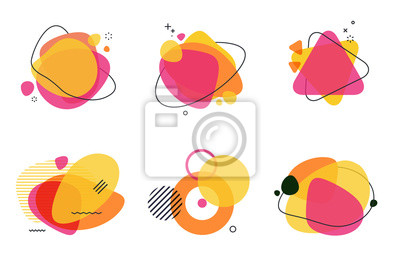 Plakat Set of abstract graphic design elements. Vector illustrations for logo design, website development, flyer and presentation, background, cover design, isolated on white.