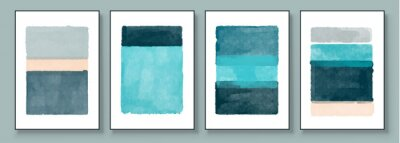 Plakat Set of Abstract Hand Painted Illustrations for Postcard, Social Media Banner, Brochure Cover Design or Wall Decoration Background. Modern Abstract Painting Artwork. Vector Pattern
