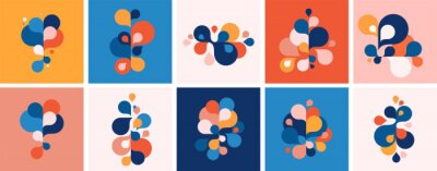 Plakat Set of abstract modern graphic elements and forms. Abstract banners with flowing liquid shapes