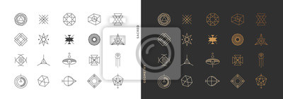 Plakat Set of abstract sacred geometry symbol vector elements template, clean minimal geometric logo collection