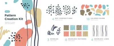 Plakat Set of abstract trendy hand drawn shapes and design elements. Pattern Creation set. Vector