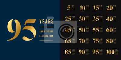 Plakat Set of anniversary logotype. Golden anniversary celebration emblem design for company profile, booklet, leaflet, magazine, brochure, web, invitation or greeting card.
