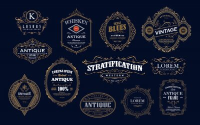 Plakat Set of antique frame whiskey label vintage border retro vector illustration