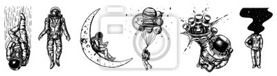 Plakat Set of Astronauts in the solar system. Spaceman and whale, taking off cosmonaut, planets in space, balloons and the moon. Engraved hand drawn Old sketch in vintage style.