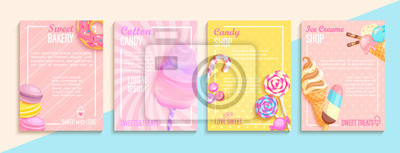 Plakat Set of bakery,candy,cotton candy,ice cream flyers,banners.Collection of pages for kids menu,caffee,posters.Macaroons,donuts, lollipop shop cards, cafeteris advertise.Template vector illustration.
