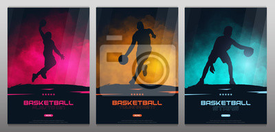 Plakat Set of Basketball banners with players. Modern sports posters design.
