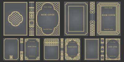 Plakat Set of Books cover and spine design template. Ornate vintage frames or borders to be printed on covers of book. Retro frames. Classical Brochure design. Presentation cover.