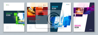 Plakat Set of Brochure Cover Template Layout Design. Corporate business annual report, catalog, magazine, flyer mockup. Creative modern bright concept with square shape