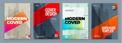 Plakat Set of Brochure Design Cover Template for Brochure, Catalog, Layout with Color Shapes. Modern Vector illustration Brochure Concept in Dark Colors