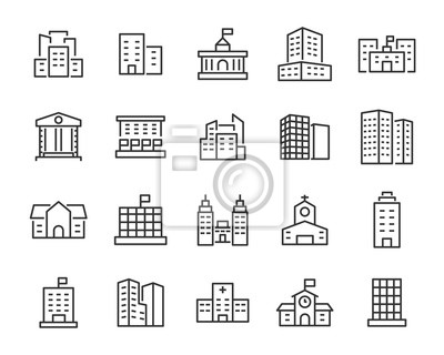 Plakat set of building icons, such as city, apartment, condominium, town