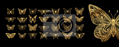 Plakat Set of butterflies, ink silhouettes. Glowworms, fireflies and butterflies icons isolated on white background. Hand drawn elements, Vector illustration.