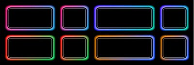 Plakat Set of buttons colorful frames in neon colors, modern buttons collection oval rectangle shapes on black background, vector illustration.