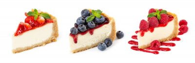 Plakat Set of cheesecakes with fresh berries and mint