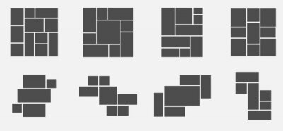 Plakat Set of collage for photos or images. Vector template empty frames. Creative mockup.