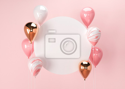 Plakat Set of colorful balloons with empty space for text. Realistic background for birthday, anniversary, wedding, holiday congratulation banners. Festive template for social media. 3D render illustration.