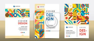 Plakat Set of colorful retro cover design template