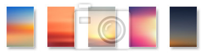 Plakat Set of colorful sunset and sunrise sea. Blurred modern gradient mesh background paper cards.