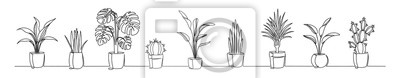 Plakat Set of continuous one line drawing of a flowers in a pots