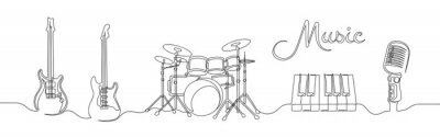 Plakat Set of continuous one line drawing of a musical instruments