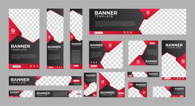 Plakat set of corporate web banners of standard size with a place for photos. Vertical, horizontal and square template. vector illustration EPS 10