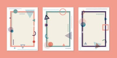 Plakat Set of cover brochure template simple geometric pattern and frame background memphis style