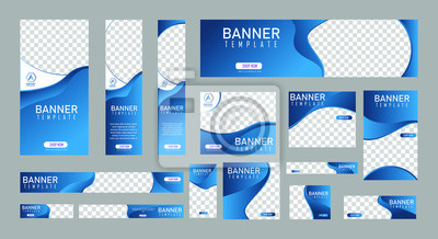 Plakat set of creative web banners of standard size with a place for photos. Vertical, horizontal and square template. vector illustration