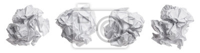 Plakat Set of crumpled paper balls, isolated on white background