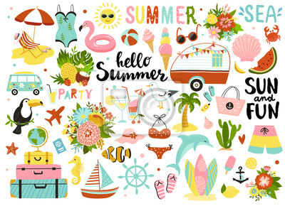 Plakat Set of cute summer elements: sun, palm tree, beach umbrella, calligraphy, tropical flowers and birds. Perfect for summertime poster, card, scrapbooking , tag, invitation, sticker kit.