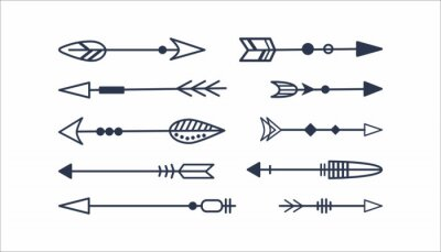 Plakat Set of decorative arrows isolated on a white background. Traditional symbol of Native American Indians. Boho design. Vector illustration