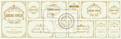 Plakat Set of Decorative vintage frames and borders set,Gold photo frame with corner