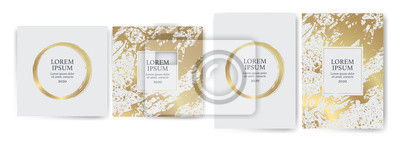 Plakat Set of design templates with golden texture, marble effect. Luxury and elegance Suitable for wedding invitations, VIP events, covers, promotions.