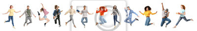 Plakat Set of different jumping people on white background