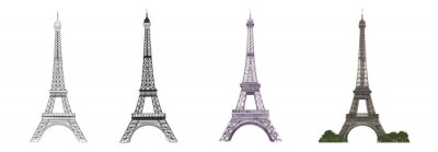 Plakat Set of differents Eiffel tower on white background. Watercolor, line art, outline illustration.
