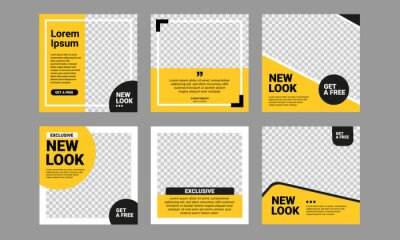 Plakat Set of Editable square banner template. Black and yellow background color with stripe line shape. Suitable for social media post, instagram and web internet ads. Vector illustration with photo college