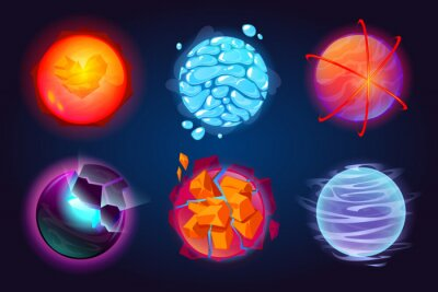 Plakat Set of fantastic planets, cartoon galaxy ui game asteroids. Cosmic world, alien space design elements. Earth, satellite with rings, water drops, glow and exploding comets surface. Vector illustration