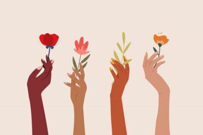 Plakat Set of  female hands holding beautiful flowers. Different skin colored elegant woman hands isolated. Happy international  women's day. Girl power. Feminism. Modern vector illustration in flat style